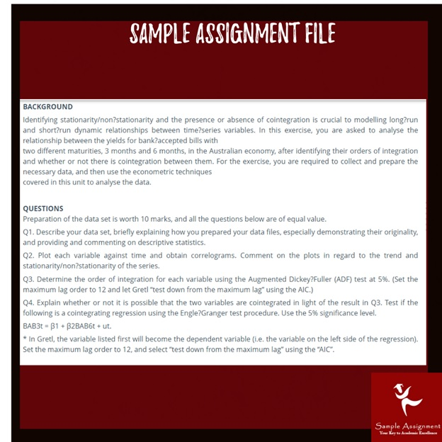 ECON2032 identifying stationarity sample assignment file