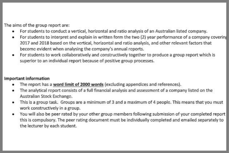 accounting coursework sample
