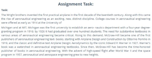 aeronautical engineering assignment help assignment task online