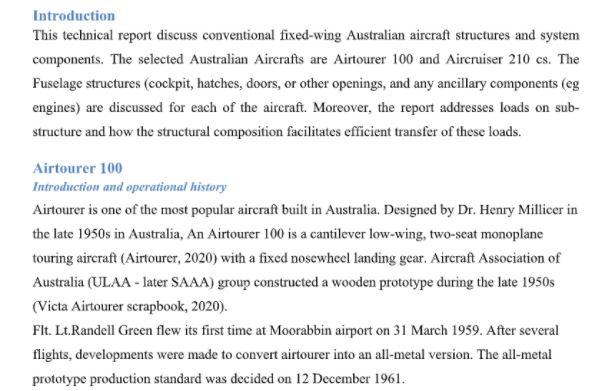 aeronautical engineering assignment help sample solution