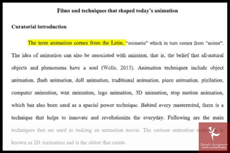 animation assignment help sample UK