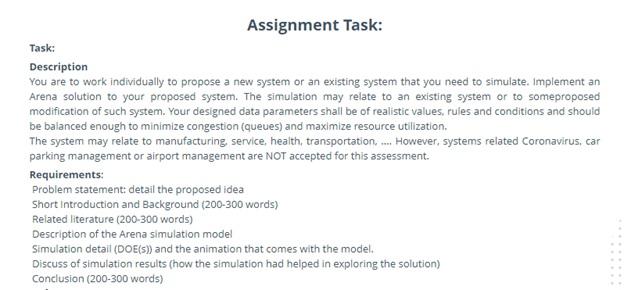 arena model simulation sample assignment task