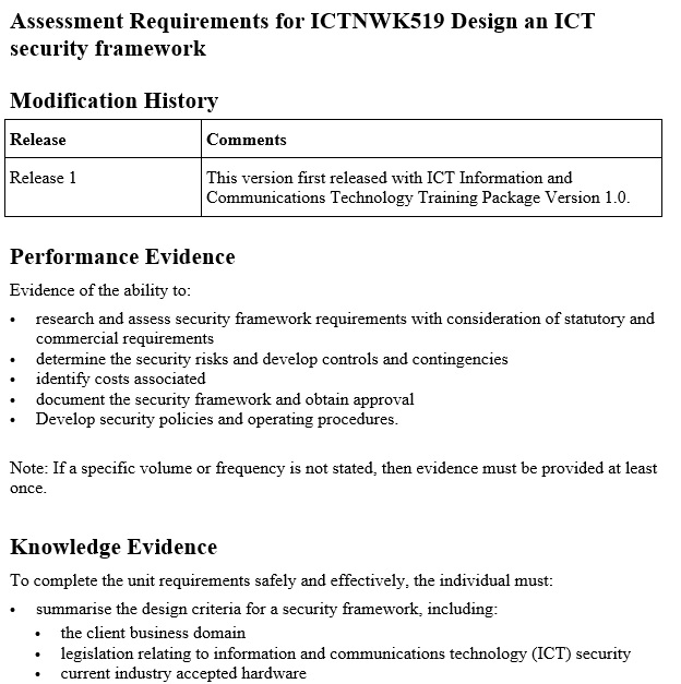 assessment requirements for ICTNWK519 design an ICT security framework