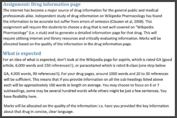 assignment drug information page