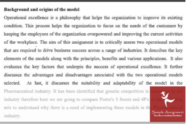 background and origin of model of operational excellence