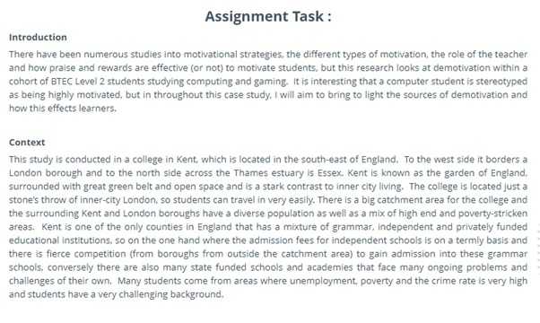 BTEC assignment question