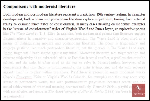 comparisons with modernist literature assignment