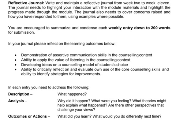 counseling psychology assignment