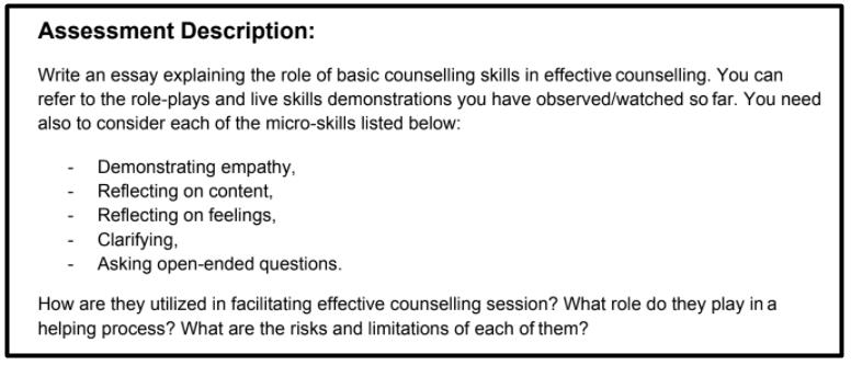 counselling essay writing sample