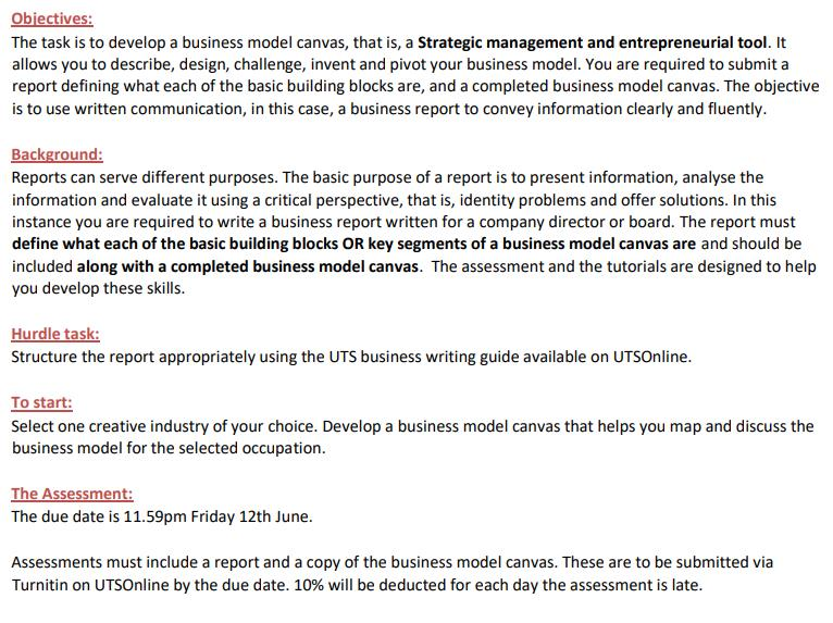 creative industries assignment sample