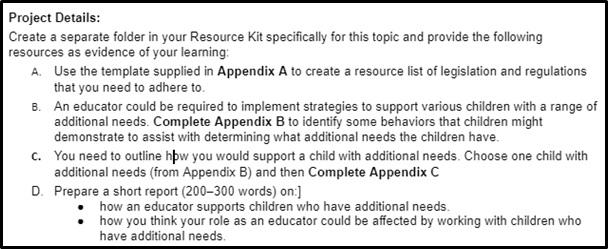 early childhood education assignment project details