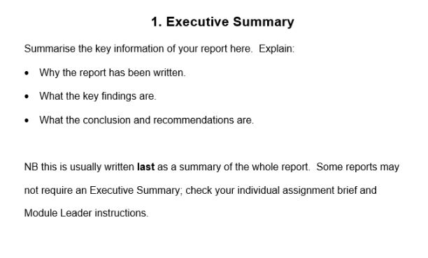 executive summary of Assignment Help in london