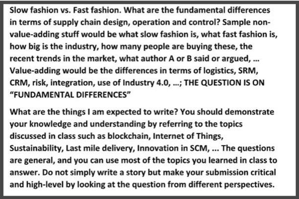 fashion management assignment sample