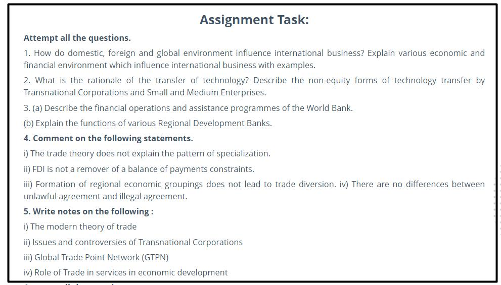 global trade assignment solution