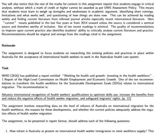 health workforce planning assignment sample 1