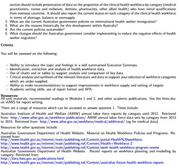 health workforce planning assignment sample 2