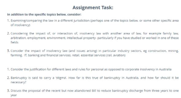 insolvency administration law assignment help free sample