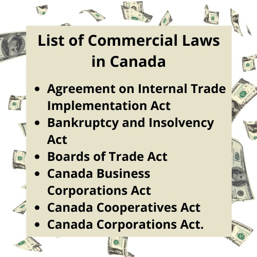 list of commercial law