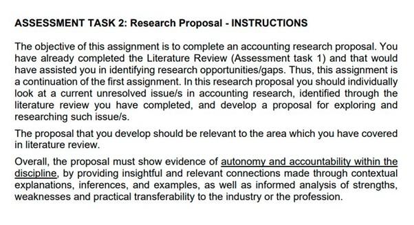 management research proposal question australia