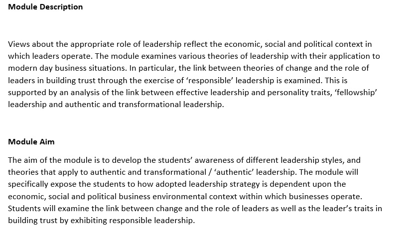 managerial leadership assignment sample