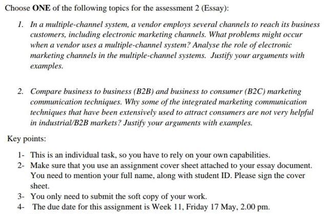 marketing channel management assignment helper