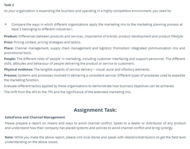 marketing channel management assignment sample