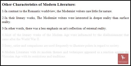 online modernism English literature characteristics