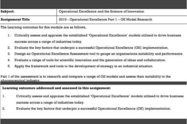 operational excellence assignment sample