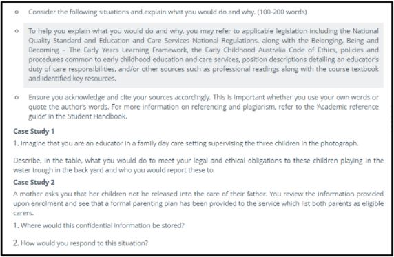 questions on childcare dissertation