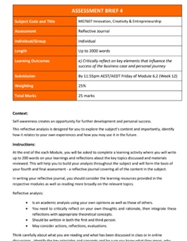 reflective journal assignment question sample