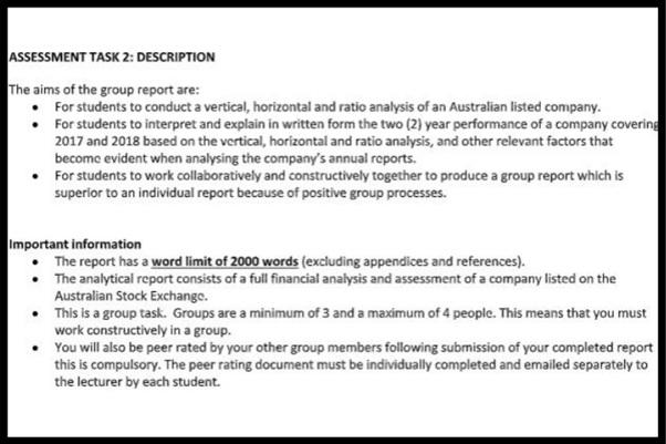sample assessment task description