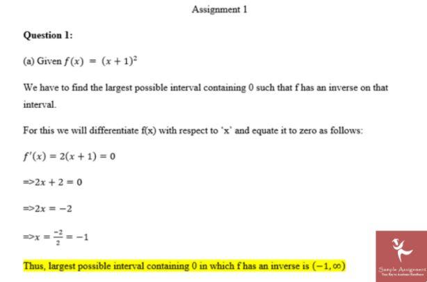 sample assignment on algebra homework help UK