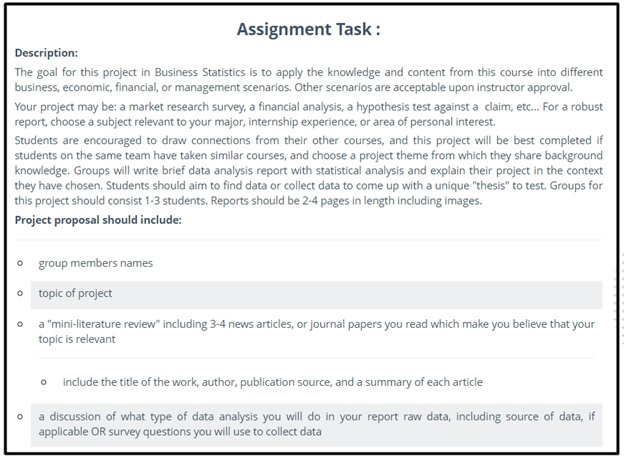 sample assignment task description