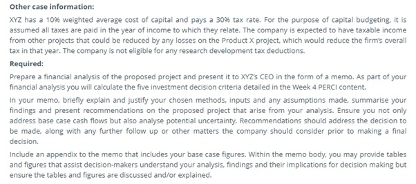 sample information of captital budgeting assignment