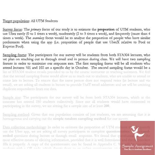 target population all UTM student Canada