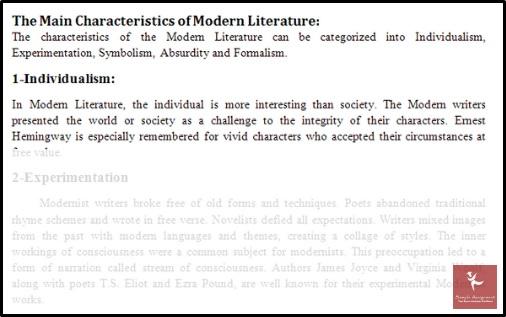 the main characteristics of modern literature