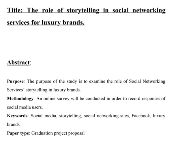 title the role of storytelling in social networking services for luxury brands