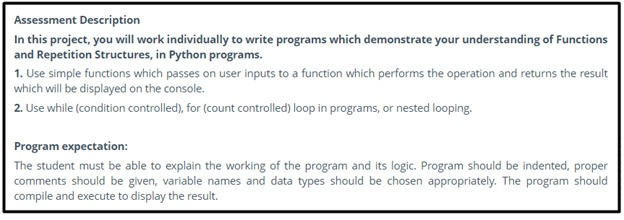 visual basic programming assessment description