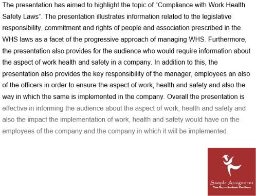 work health safety assignment sample online