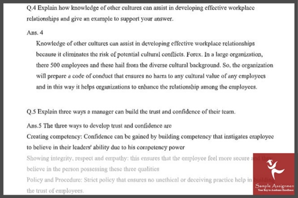 workplace relationship assignment question example