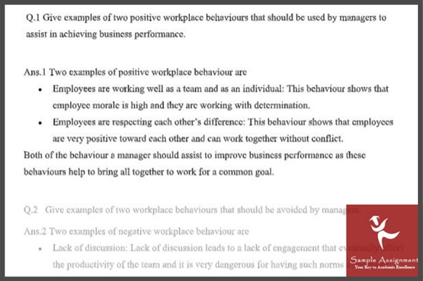 workplace relationship assignment question sample