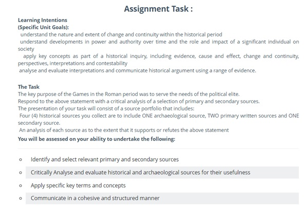 ancient history assignment question canada