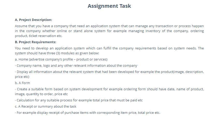 application system development assignment sample