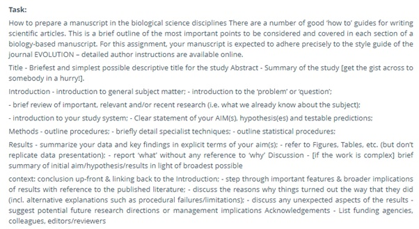 biological science assignment question uk