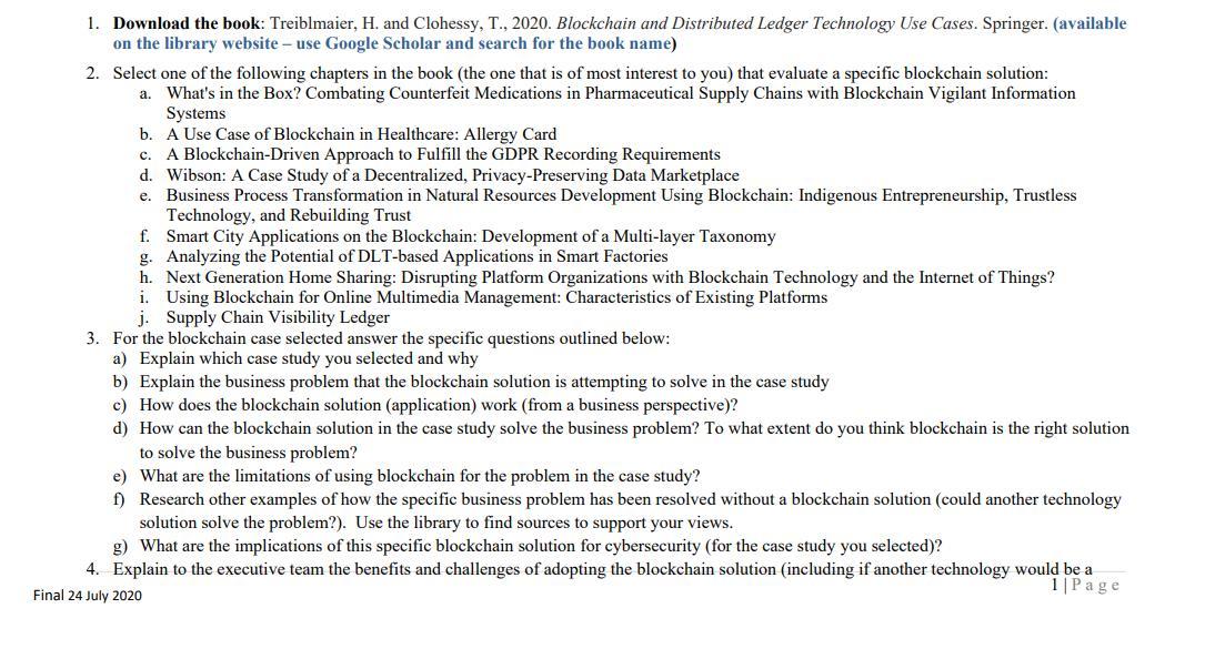 blockchain technology assignment solution