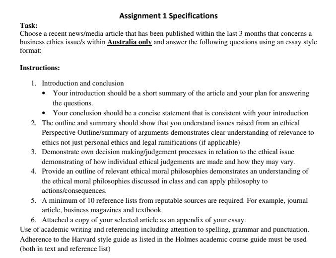 business ethics assignment sample canada