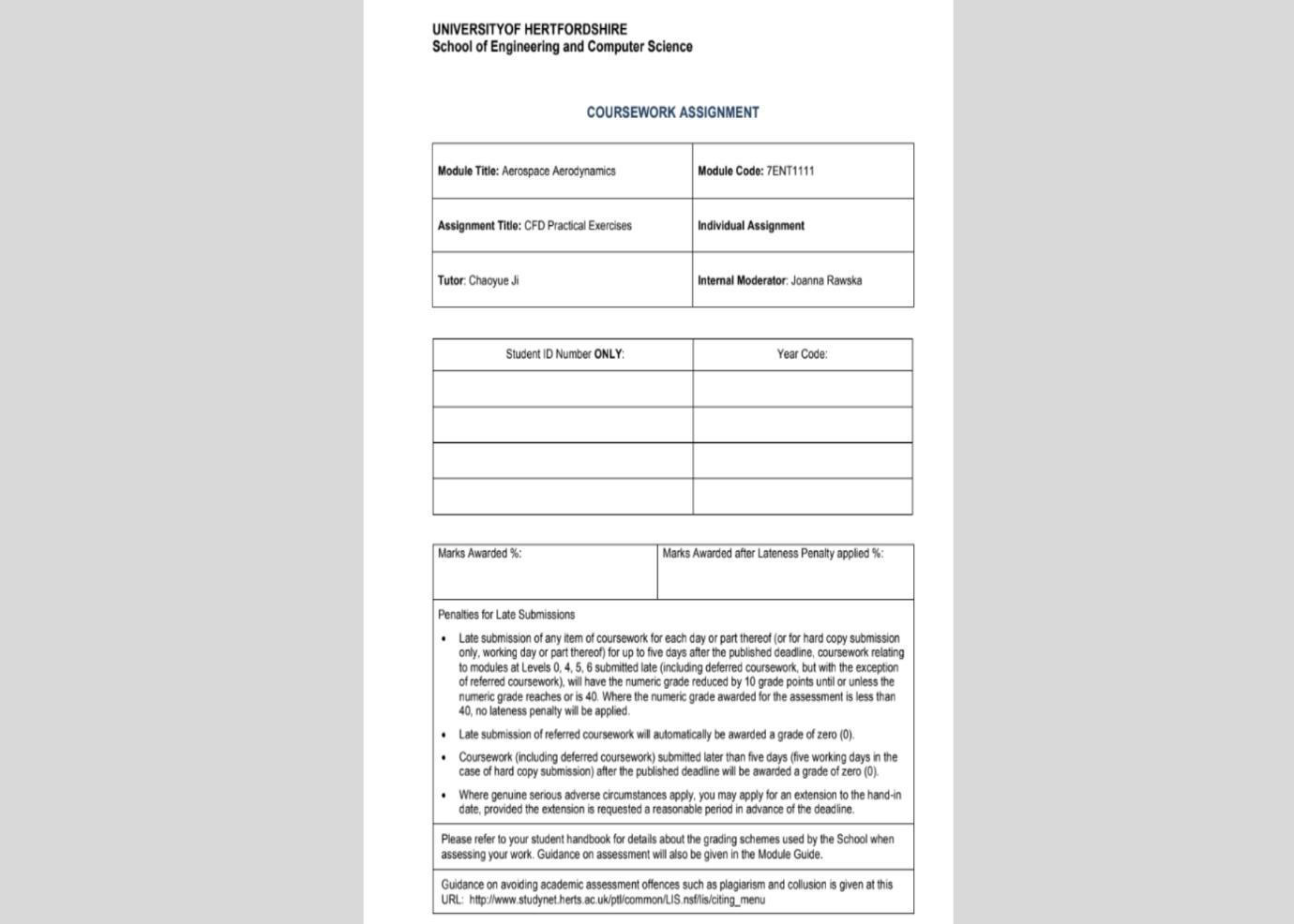 computational fluid dynamics assignment sample