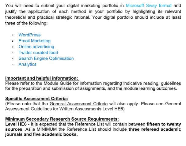 digital marketing assignment solution canada