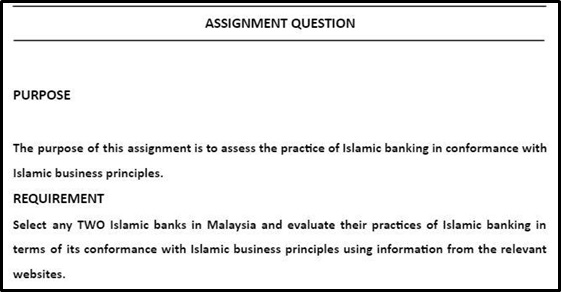 islamic financial management assignment sample question