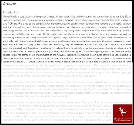 tcpip networking homework sample answer